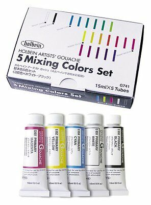 Holbein opaque watercolor gouache basic colors 5-color set G741 15ml 5 No.