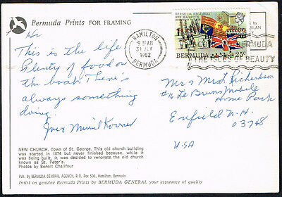 2213 Bermuda To Us Thematic Card 1982 Flags  Hamilton - Enfield, Nh