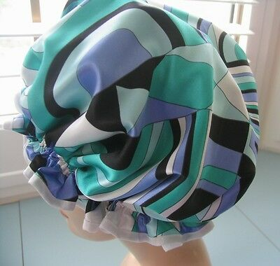 SHOWER CAP HAT , WATERPROOF abstract aqua blue green and muave and purple