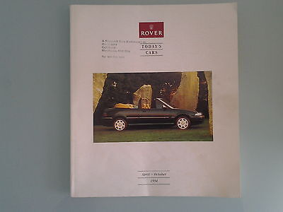 Rover Cars Sales Brochure - April To October 1994