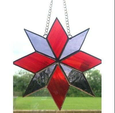 HANDMADE Stained Glass Star Sun catcher Tiffany Glass Technique Red Purple Glass