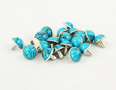 100PCs 8mm Turquoise Rivets Rapid Rivets Studs DIY Leather Craft Decorative