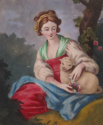 19th CENTURY, Hand Coloured Print, WOMAN WITH LAMB
