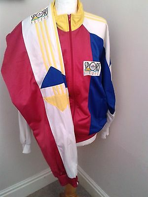 Vintage Retro Full Adidas Tracksuit Size 38/40 D5 F174 Pink Yellow Blue White