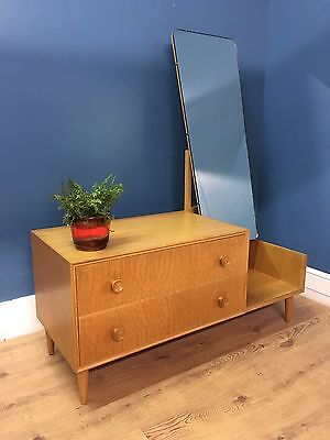 Mid century vintage retro 1960s 70s light oak Meredew dressing table with mirror