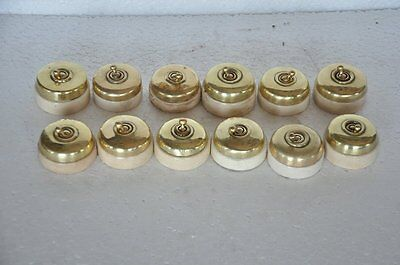 12 Pc Vintage Brass & Ceramic Victorian Electric Switches , Germany