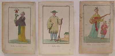 LATE 18th CENTURY, FRENCH, Coloured Engraving, THREE CHINESE FIGURES
