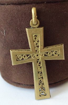 OUTSTANDING VINTAGE BRASS CROSS,ENGRAVING,EARLY 20th. Century !!! # 86