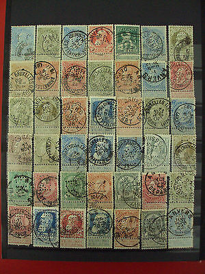 Old Belgium perfin stamp collection 60 pieces.