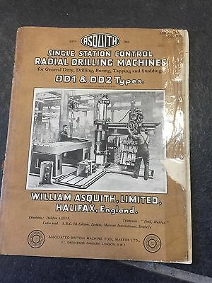 Vintage Asquiths Od1 Od2 Types Single Station Control Radial Drilling Machines