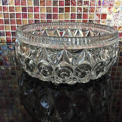 Vintage Pressed Glass Fruit Strawberry Salad Serving Bowl Trifle Dish