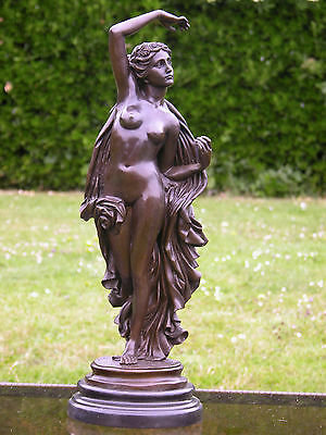 Beautiful Bronze Classical Lady Figurine Signed By H Moreau