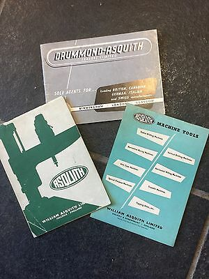 3 X Vintage Brochures Asquiths Halifax Drummond- Asquith Sale Ltd Tool Machinery