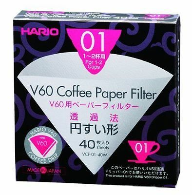 Hario VCF-01-40W V60 01 Filter Papers (40) - Pack of Filters for 01 Dripper