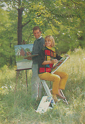 Vintage Happy Birthday Granddaughter 1970's Greeting Card - Artists Oil Painting