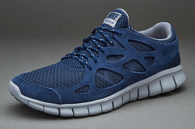 NIKE FREE RUN 2 Running Trainers Shoes Gym Casual Suede - UK 7.5 (EUR 42) - Navy