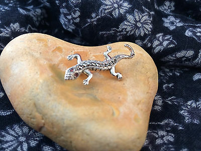 Sterling Silver Lizard Brooch set with Marcasite