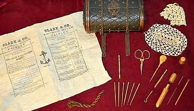 Exquisite RARE Antique Victorian cir 1840s Travel Etui CROCHET & SEWING Kit Case