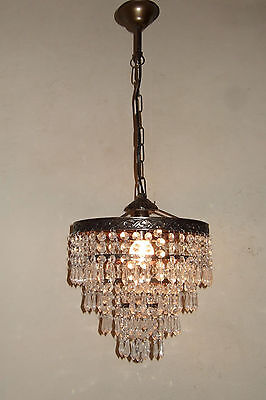 Antique Vintage French Waterfall Brass & Crystal Drops  Chandelier