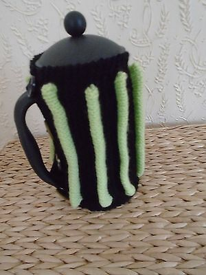 Hand Knitted Coffee Pot Cosy in Lime Green and Black