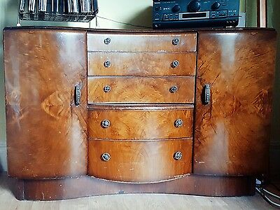 Antique Art Deco Walnut Curved Beautility Sideboard Cabinet Vintage Midcentury