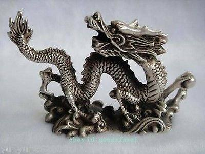 Chinese Decoration Old Handwork Carving Dragon Tibet Silver Statue pretty
