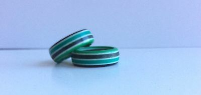 Pair (2) French Design Resin Laminated Rings Size 5
