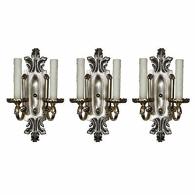 Antique Silver Plated Double-Arm Sconces, c. 1910, 3 Available, NSP1124