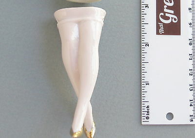 Vintage German Porcelain Pin Cushion Half Doll Legs Pink with Gold Shoes#7983
