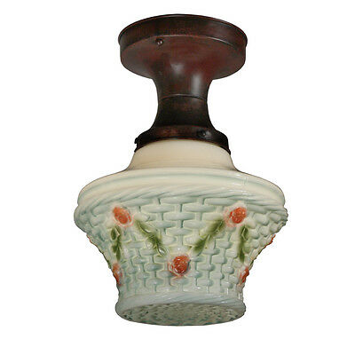Lovely Antique Flush Mount Light Fixture with Painted Glass Shade NC1859