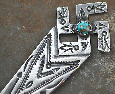 VTG Old Pawn Navajo Silver Turquoise Whirling Log Letter Opener Fred Harvey Era