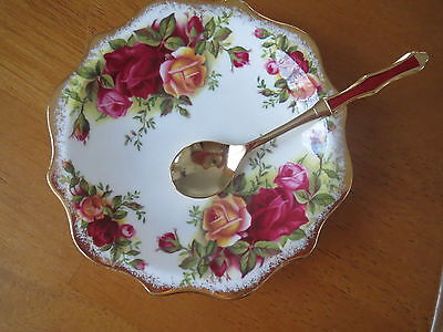Royal Albert Old Country Roses Frilled Condiment Dish/japanese Floral Spoon