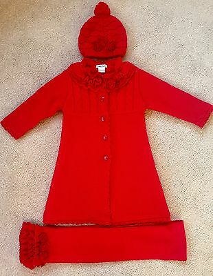 Sarah Louise China's Red Double Lined Long Cardigan Coat, Hat And Scarf Age 3