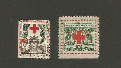 *USA--2 early mint American Red Cross Christmas labels: 1909, 1918