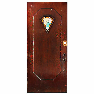 "Salvaged Art Deco 36"" Door with Stained Glass NED490"