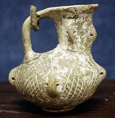 Ancient Early Greek Sicilian Patterned Oil Lamp With Bronze Ring