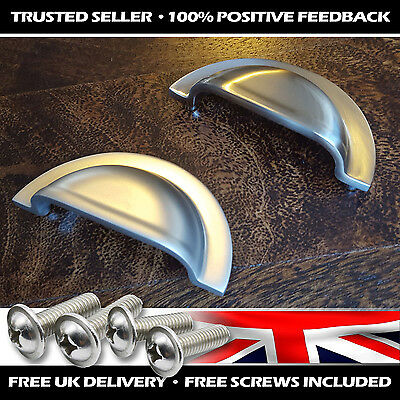 3/5/10x Solid Shaker Half Moon Hooded Shell Drawer Cabinet Cup Pull Handle Knob