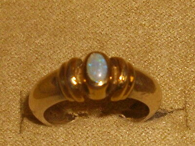 Beautiful Solid 925 Sterling Silver Opal Ring With 14K Bezel Sz 6.75
