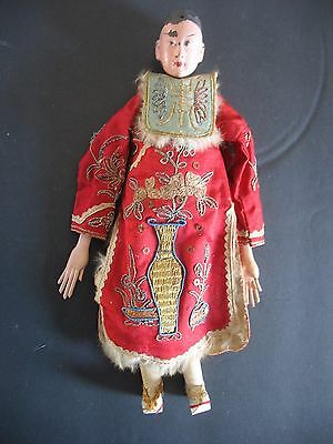 """Antique 10 1/2"""" Chinese Antique Opera Doll Original Red Hand embroidered Outfit"""