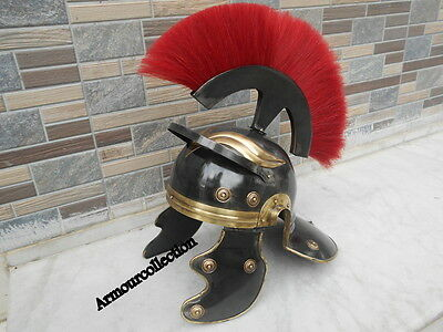 """ANTIQUE ROMAN HELMET Black Finish Soldier Centurion HELMET ARMOR W/ RED PLUME"