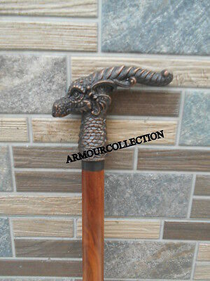 Carved Wooden Cane~Walking Stick Dragon Head Made_Original Work Exclusive