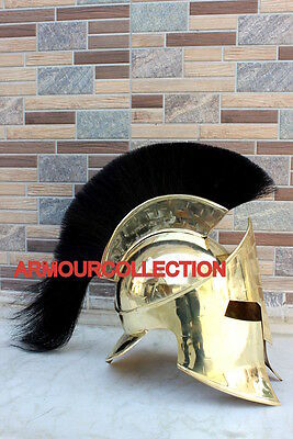 Solid Brass~300 Movie Helmet Black Plume W/leather Liner Reproduction