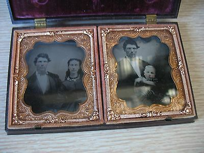 Double 1/6 plate Union case w 2 photos ambrotype & tin Family child Brunswick Ga
