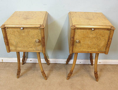 Pair Art Deco Style Walnut Bedside Cabinets / Cupboards / Tables / By Hille