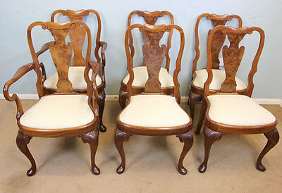 Antique Set Six Burr  Walnut Queen Anne Style Dining Chairs