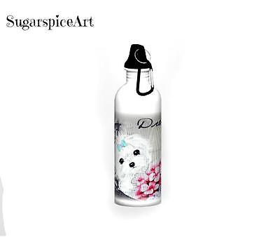 Maltese Dreams Stainless Steel Water Bottle  Dog Art by SugarspiceArt