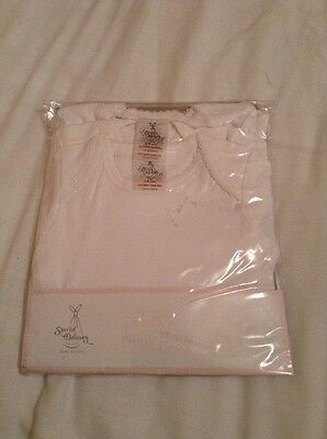 3 X 3-6 Month Girls White Short Sleeve Vests New In Packaging