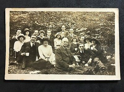 Vintage Postcard - RP Anonymous People - Picnic Group? #128 1921