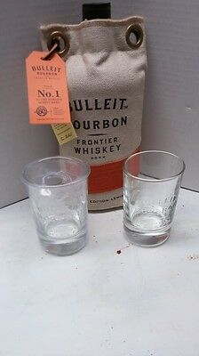 "Set Of Two (2) Bulleit Kentucky Bourbon Glasses & Bonus New ""lewis"" Bag"