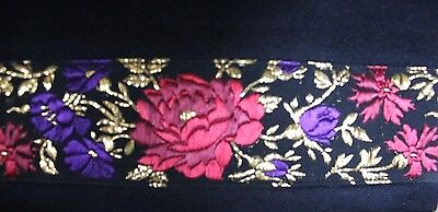 Vintage Black Evening Clutch with Embroidery - Made in Italy